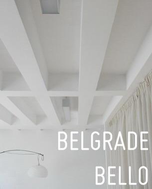 Das Apartment Bello befindet sich in einem vierstöckigen Gebäude aus den Siebzigern – 5 km vom Belgrader Stadtkern entfernt – in einem von der Zeit geschonten Teil des Stadtteils Senjak. Das Wohnhaus mit dem Blick auf das Belgrader Panorama ist durch einen vom immergrünen Bäumen beherrschten Park umgeben.