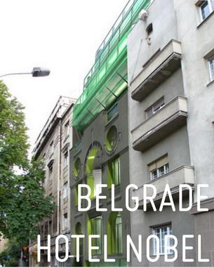 Das Hotel Nobel befindet sich in der unmittelbaren Nähe des serbischen Präsidentensitzes (der Neue Königspalast) und Belgrader Stadtparlaments (der Alte Königspalast). Es schaut zum Pionierpark und seinem bemerkenswerten Grün hundertjähriger Bäume.