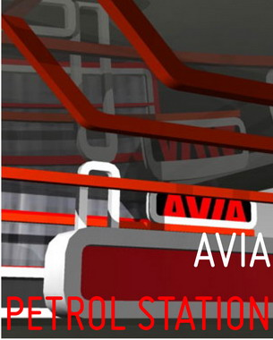 We created here AVIA- alphabet (after doing all the new visual identity of the company AVIA in Serbia- bottle, stickers, catalogues, posters, billboards) that we use for architecture. It was an intriguing process going from logo to architecture.