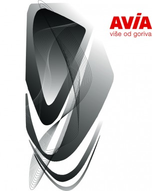 Avia bottle is a representation of flowing oil freezed on the bottle's surface.