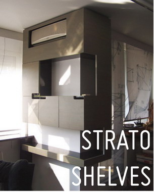 Strato shelf is an intelligent corner parasite. It is a shelf but also a closet to hide things like air conditioners, garbage, books.